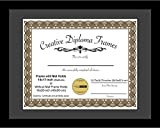 Creative Picture Frames 14x17 Classic Black Diploma Frame with Black Mat Glass Easel and Installed Wall Hangers | Frame Holds 16x20 Media without Mat