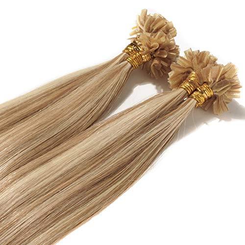 Extensiones de pelo liso de queratina preunidas con pestañas en forma de U de 1 g por mechón. Cabello humano Remy de 50 g, de 40.6 cm a 56 cm de largo