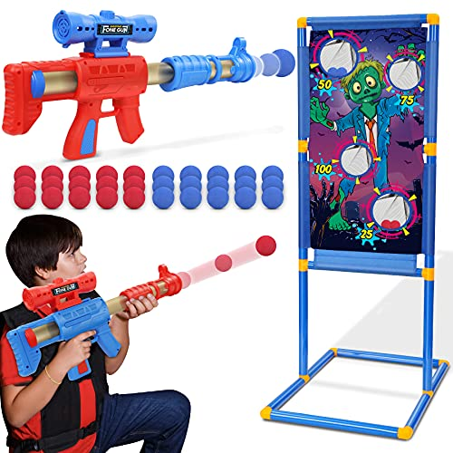Jumpit Shooting Game Toy for Kids Ages 5 6 7 8+  2pk Foam Ball Popper Air Toy Guns with Scoring Standing Target  Blaster Gun Toy  Boys and Girls  30 Safe Foam Balls  Indoor&Outdoor  Best Gifts