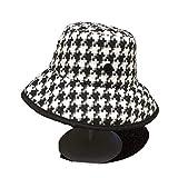 DFLYHLH Abeja Otoño Invierno Mujer Pata de Gallo Sombreros de Cubo Moda UV Sombrero Señoras Plaid Elegante Gorras de ala Grande Black M