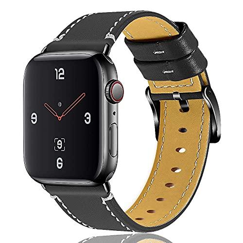 Correa de reloj compatible con Apple Watch Series 6, 5, 44 mm, 44 mm, piel auténtica de repuesto para iWatch Series 3 2 1