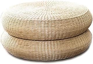 LONGren Japanese Straw Cushion Tatami Floor Cushion Japanese Style Handcratfed Wicker Mat Futon Flat Meditation Cushion Ja...