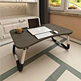 VLikeze Adjustable Laptop Bed Table Notebook Standing Lap Desk Breakfast Serving Tray Dorm Desk with Foldable Legs, Cup Slot and Reading Holder for Bed Sofa Couch (Black)