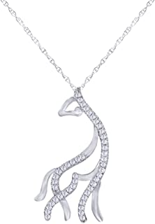 1/10 CT Round Cut Natural Diamond Giraffe Pendant Necklace in 10K Solid Gold