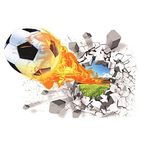 tJexePYK Wall Paper Football 3D Etiqueta de la Pared Creativa Tatuajes de Pared Sala de Estar de los niños extraíble del balón de fútbol Colorido