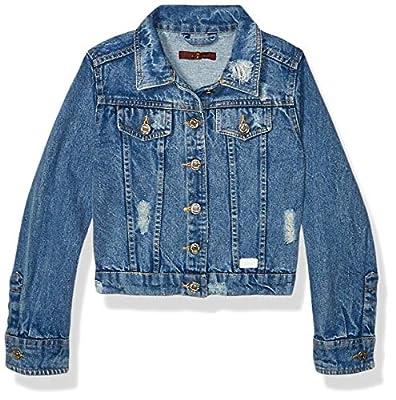 7 For All Mankind Girls' Big Jacket, Cropped Vintage Wythe, L