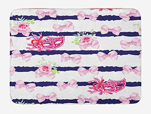 Masquerade Bath Mat, Venetian Style Carnival Masks on Stripes with Satin Bows Roses Flowers, Plush Bathroom Decor Mat with Non Slip Backing, 23.6 W X 15.7 W Inches, Pink White Blue