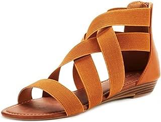 Inlefen Women's Summer Open Toe Sandals Zipper Breathable Casual Beach Shoes