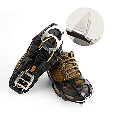 Cosyzone Crampons Traction Cleats Ice Grips Spikes for Shoe/Boots Safe for Walking, Jogging, Climbing Fishing Hiking-Black?1 Pair