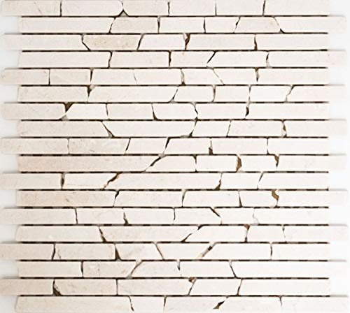 Mosaik Fliese Marmor Naturstein weiß Brick Botticino Anticato MOS40-0102