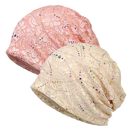 WELROG Chemo Hut Frau Hut Spitzen Kopftuch Super Weich Slouchy Turban Kopfbedeckungen Kopf Wraps (Beige/Rosa)