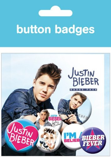 GB eye Justin Bieber Badge Pack 4 x 25mm 2x38MM