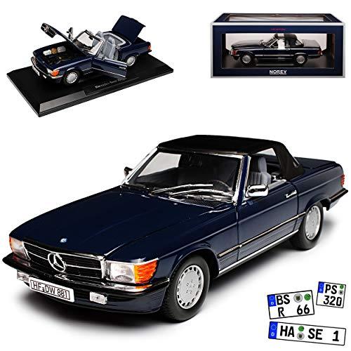 Norev Mercedes-Benz 300SL R107 Cabrio Dunkel Blau mit Soft Top 1971-1989 1/18 Modell Auto mit individiuellem Wunschkennzeichen
