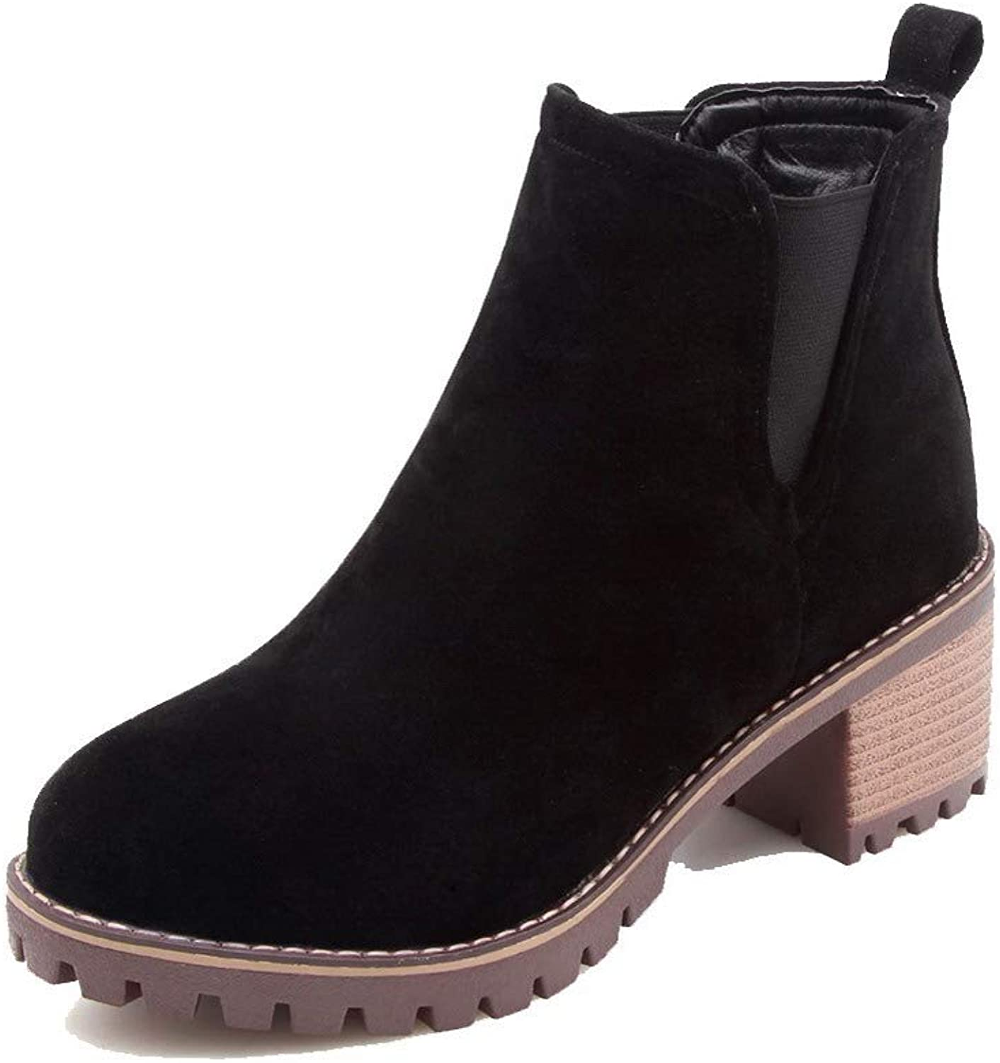 AllhqFashion Women's Round-Toe Low-Top Kitten-Heels Solid Frosted Boots, FBUXD121021