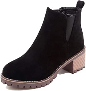 AmoonyFashion Women's Pull-On Round-Toe Kitten-Heels Frosted Low-Top Boots, BUSXT113671