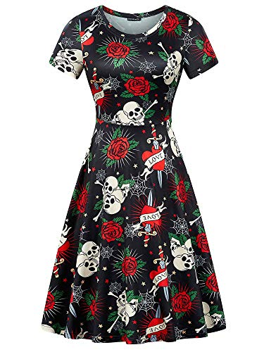 FENSACE Short Sleeves Rose&Skull Prints Casual A-line Halloween Outfits for Women Round Neck Dress(Skull-1 XL)