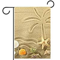 庭の装飾の屋外の印の庭の旗の飾り砂の上に描かれた海とヤシの木のヒトデの島 テラスの鉢植えのデッキのため