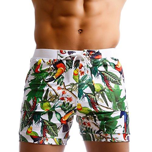 Taddlee Men Swimwear Swimsuits Flower Print Surf Board Boxer Shorts Trunks Long (XXL,XF83)