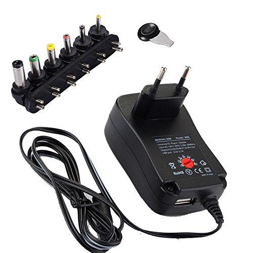 helpers lab Universal Conector de Fuente, 30W 3V-12V AC/DC Adaptador Fuente de alimentación conmutada Six Adaptor Plugs con Puerto USB 5V 2,1A