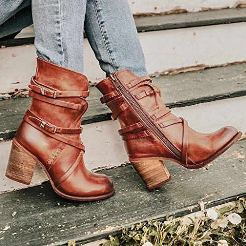 Damen High Heels Retro PU-Leder Stiefeletten Schnalle Ankle Boots Reißverschluss Stiefel Chelsea...