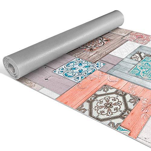 Anro Alfombra de pasillo de cocina, alfombra de cocina con diseño antideslizante, 100% PVC., Aspecto de madera y baldosas., 200x52cm