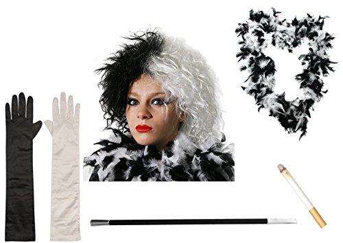 0207VP76JQD ILOVEFANCYDRESS Déguisement de Cruella d'Enfer - Idéal pour Halloween - Inclus: Perruque, Gants,...
