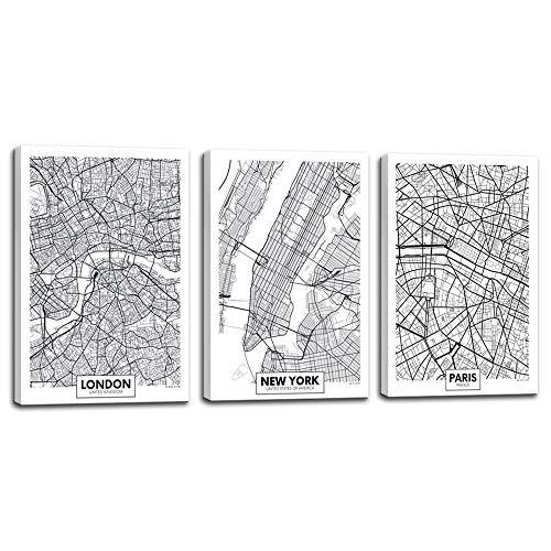 Biuteawal - 3 Piece Canvas Print Linear City Map...