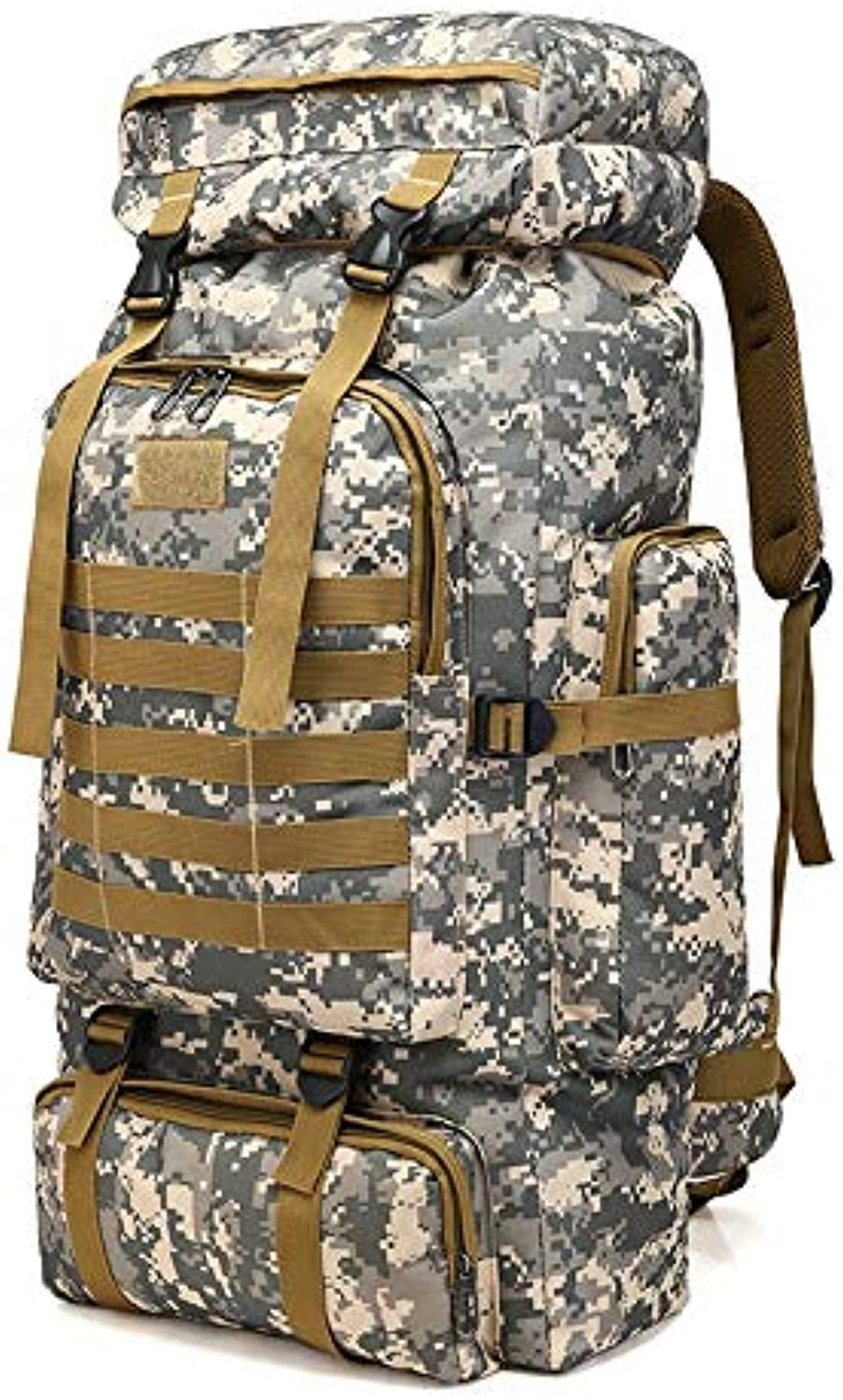 QIANHEDAMAI Outdoor Large Capacity Army Military Tactical Bag Camping Hiking Waterproof Rucksack Oxford Cloth Digital Camouflage Backpack