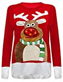 BuyAll Unisexe Femmes Hommes Femmes en tricot de Noël Jumper Rudolph Reindeer Xmas Tree Light Up LED Tricots Sweater Novelty col rond manches longues Loose Fit Taille 36 38 40 42 44 46