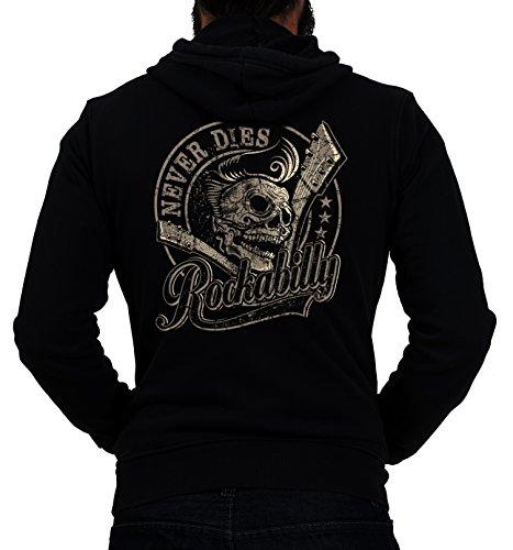 Gasoline Bandit® Design - Rockabilly Biker Racer Kapuzen-Jacke Zip-Hoodie: Rockabilly Never Dies!-L