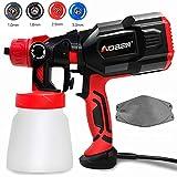 AOBEN Paint Sprayer, 550 Watt High Power HVLP Spray Gun, with 3 Spray Patterns, 4 Nozzle Sizes,...