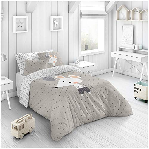 COTTON ARTean Funda Nordica Infantil/Juvenil Reversible Rabbit Gris Cama de 90