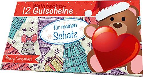 RNK 28732 Weihnachtliches Gutscheinheft für meinen Schatz, 12 Gutscheine zum Heraustrennen