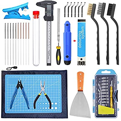 SOOWAY 3D Printer Tool kit Includes Removal Cleaning Set, Deburr Carving Knife Cutting Mat for Model Clean Up, Needle Brush for Hotend Cleaning Calipers Full Set of 3D Print Tools