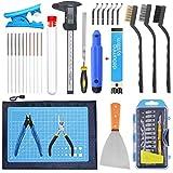 SOOWAY Kit de herramientas de la impresora 3D Incluye Extracción Juego de limpieza, Cuchillo de trinchar Alfombra de corte Para limpieza del modelo, Cepillo Herramientas completas de impresión 3D