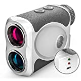 WOSPORTS Rechargeable Golf Rangefinder with Slope, 800 Yards USB Charging Laser Range Finder Support Flag Lock Vibration,Continuous Scan,Distance Speed Measurement H-111