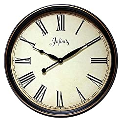 Infinity Instruments Victorian Distressed Large Wall Clock   Traditional Style Large Decorative Kitchen Clock   Glass Face with Roman Numerals   24 inch Large Wall Round Clock