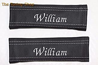 The Tuning-Shop Ltd 2X Personalized Custom Seat Belt Covers Pads Shoulder Black Genuine Leather Italic Font Any Name All Stitching Colours 22Cm X 6Cm