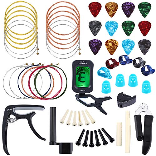 Auihiay 58 PCS Guitar Accessories Kit Including Guitar Strings, Picks, Capo, Thumb Finger Picks, String Winder, Bridge Pins, Pin Puller, Pick Holder, Finger Protect