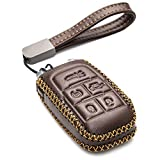 Vitodeco Genuine Leather Keyless Entry Remote Control Smart Key Case Cover with Leather Key Chain for 2019-2021 RAM 2500, 3500, 4500, 5500 (5-Button, Brown)