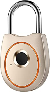 IFOLAINA Fingerprint Padlock Smart Touch Lock Metal Waterproof IP65 Anti-Theft Intelligent Keyless for Gym Locker, School Locker Lock, Backpack, Suitcase, Travel Luggage Gold