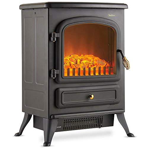 VonHaus Electric Stove Heater with Log Burner Flame Effect ? 1850W, Black ? Freestanding Fireplace with Wood Burning LED Light