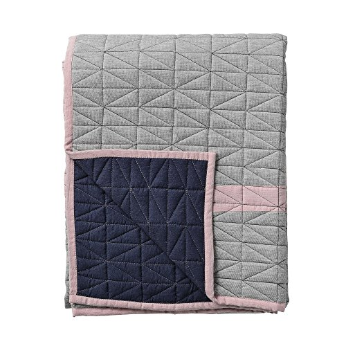 Bloomingville Throw Quilted - Plaid/jeté de lit Clair Gris/Rose/Blue navy/170x130cm
