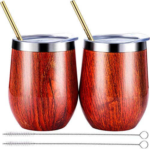 BBTO 2 Sets 12 oz Stainless Steel Stemless Wine Glass, Unbreakable Double Wall Insulate Cup Tumbler with Lids for Wine, Coffee, Including 2 Pieces Straws and 2 Pieces Brushes (Champagne)