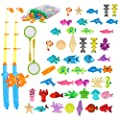 Qutasivary Magnetic Fishing Toys Game Set for Kids, 52Pcs Toddler Bathtub Toys with Pole Rods and Nets, Plastic Floating Fishes and Sea Animals for Water Table/Pool/Party, for Boys/Girls Ages 4-8