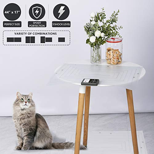 2Pcs Pet Scat Cat Mat Mat for Cats,44''x17'' Adjustable Shape Cat Repellent Mats Indoor Outdoor,Best Pet Training Shock Mat,Pet Barrier for Off-Limit Areas,Keep Pets Off Furniture Sofa Couch, Safe UL