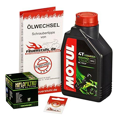 Motul 10W-40 Öl + HiFlo Ölfilter für Yamaha MT 125, 14-15, RE11 - Ölwechselset inkl. Motoröl, Filter, Dichtring