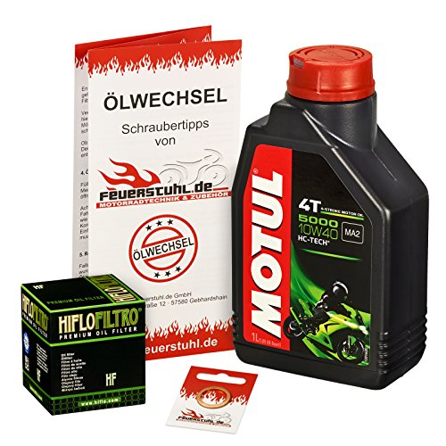 Motul 10W-40 Öl + HiFlo Ölfilter für Yamaha YZF-R 125 /WGP, 08-15, RE06 RE11 - Ölwechselset inkl. Motoröl, Filter, Dichtring