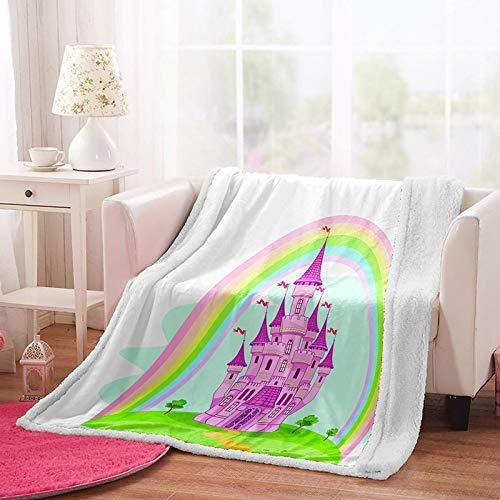 MSFDC manta con peso para adultos 3d Arco iris rosa castillo hierba W150xH180cm Cama sólida cálida y esponjosa súper suave multicolor para niños y adultos oficina viajes familia