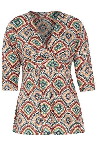 PAPRIKA Damen große Größen Bedrucktes Tunika-T-Shirt aus kühlem Material 3/4 Ärmel